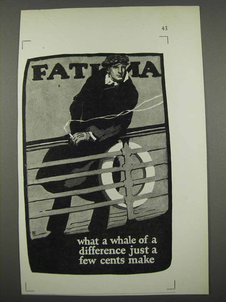 Primary image for 1925 Fatima Cigarettes Ad - Whale of a Difference