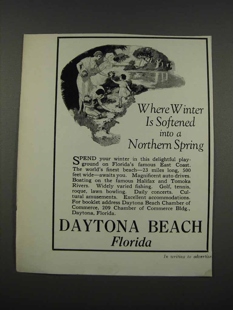 Primary image for 1925 Daytona Beach Florida Ad - Winter is Softened