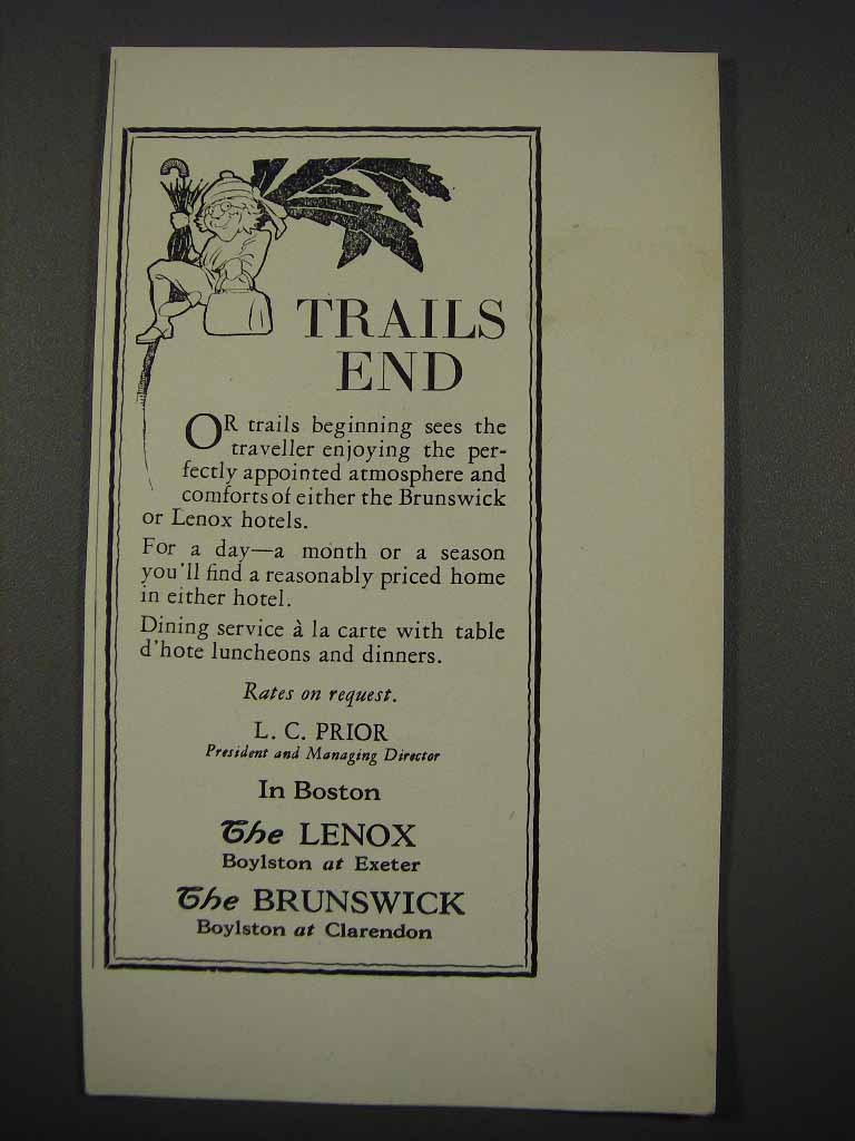 Primary image for 1925 The Lenox and The Brunswick Hotels Ad - Trails End