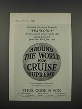 1925 Thos. Cook & Son Cruise Ad - On Franconia - $14.99