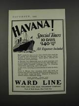 1925 Ward Line Ad - Havana! Special Tours - $14.99
