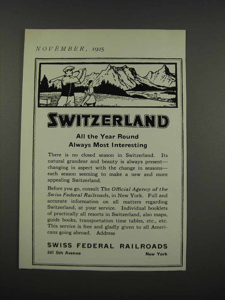 Primary image for 1925 Swiss Federal Railroads Ad - All the Year Round