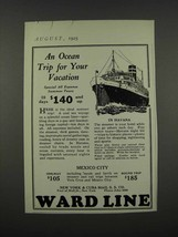 1925 Ward Line Ad - An Ocean Trip for Your Vacation - $14.99