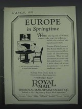 1926 Royal Mail Steam Packet Co. Ad - Europe - $14.99