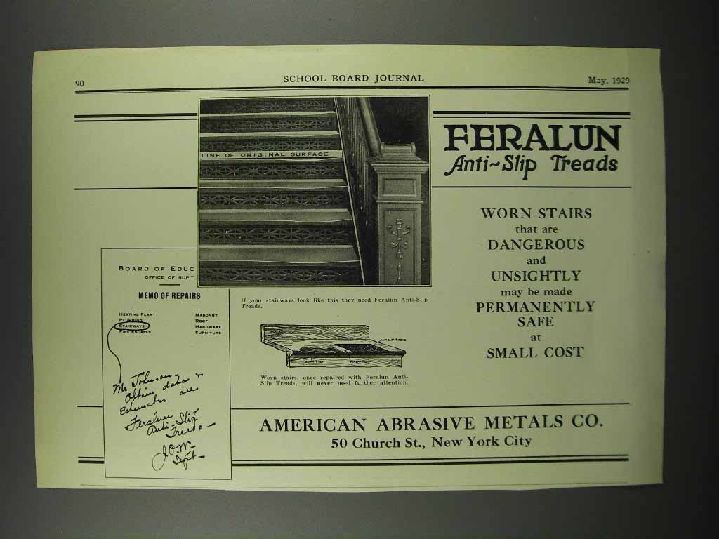 Primary image for 1929 American Abrasive Metals Feralun Treads Ad