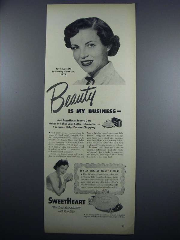 Primary image for 1948 SweetHeart Soap Ad - June Agesen