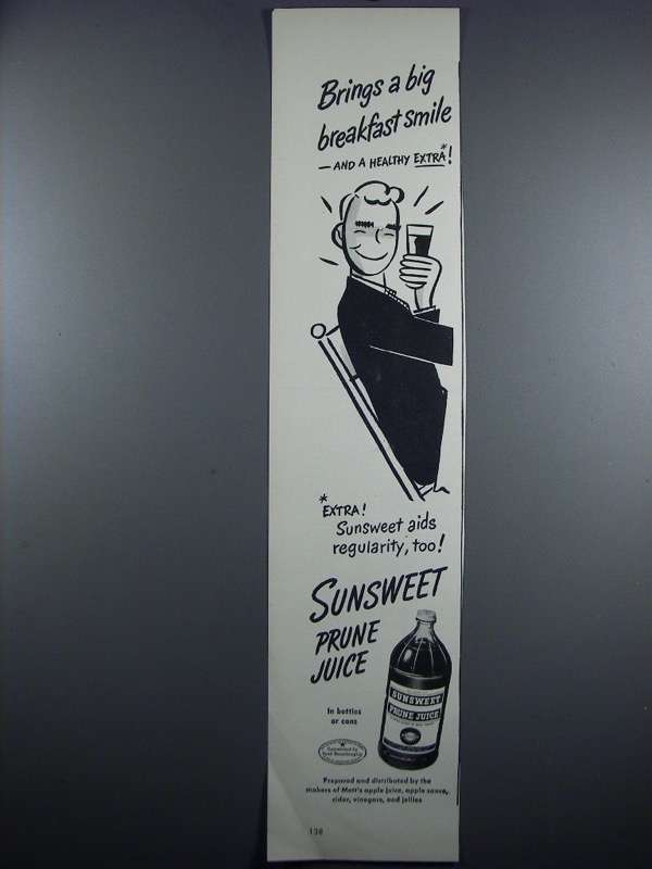 Primary image for 1948 Sunsweet Prune Juice Ad - Big Breakfast Smile