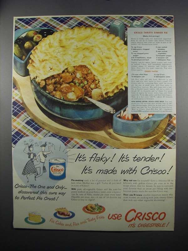 Primary image for 1949 Crisco Shortening Ad - Thrifty Dinner Pie recipe