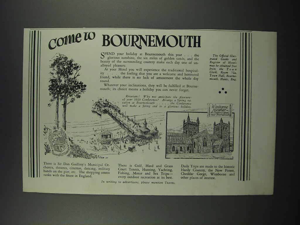 Primary image for 1929 Bournemouth England Ad - Come to