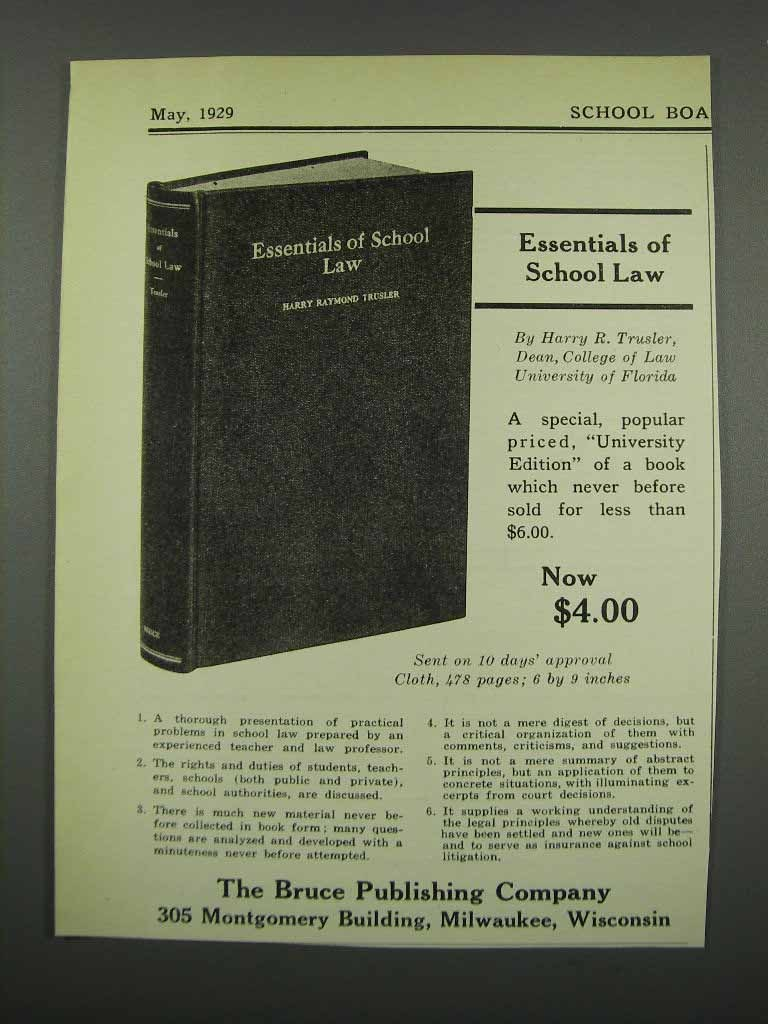 Primary image for 1929 Bruce Publishing Co. Essentials of School Law Ad