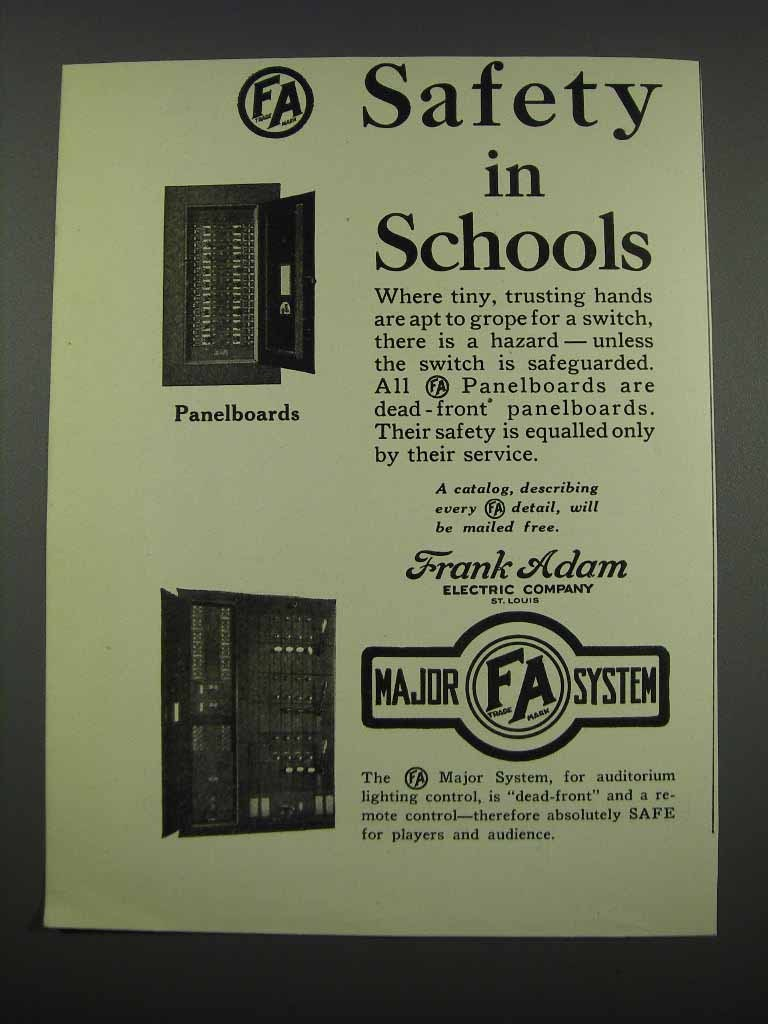 Primary image for 1929 Frank Adam Electric Company Panelboards Ad - Safety in Schools