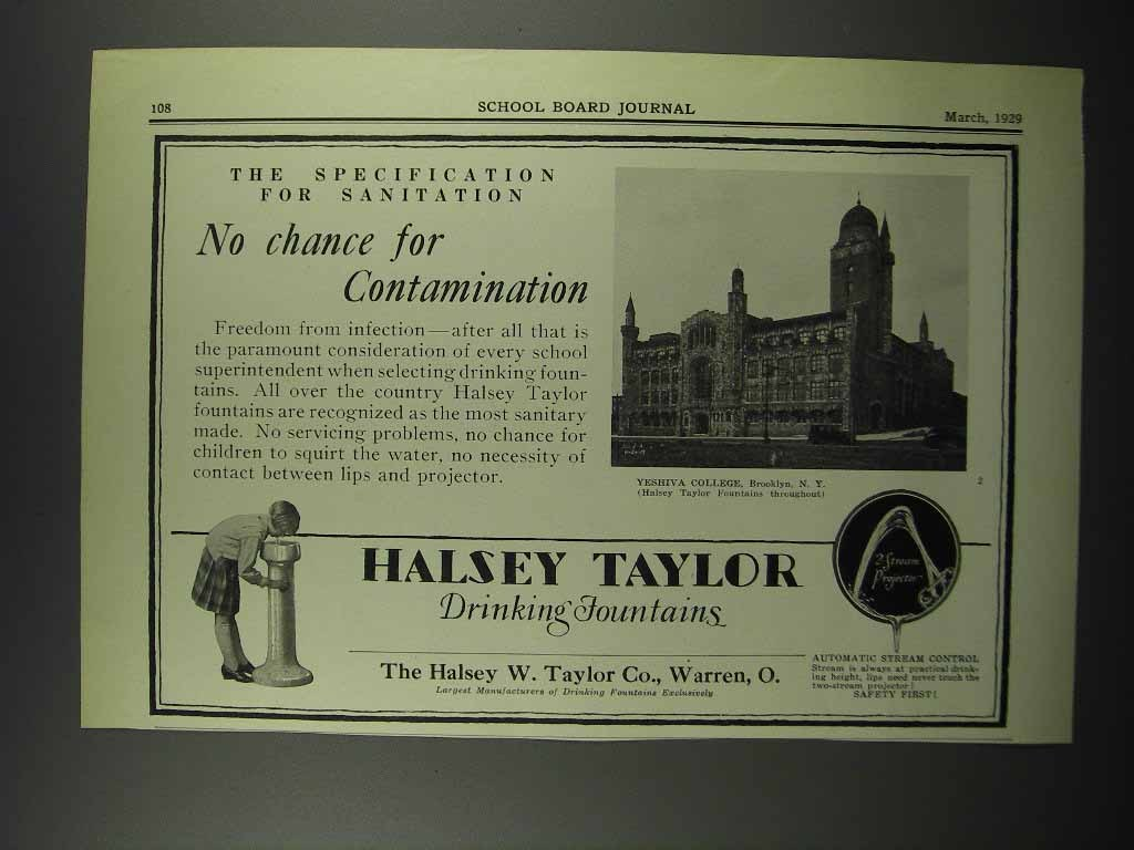Primary image for 1929 Halsey Taylor Fountains Ad - Yeshiva College