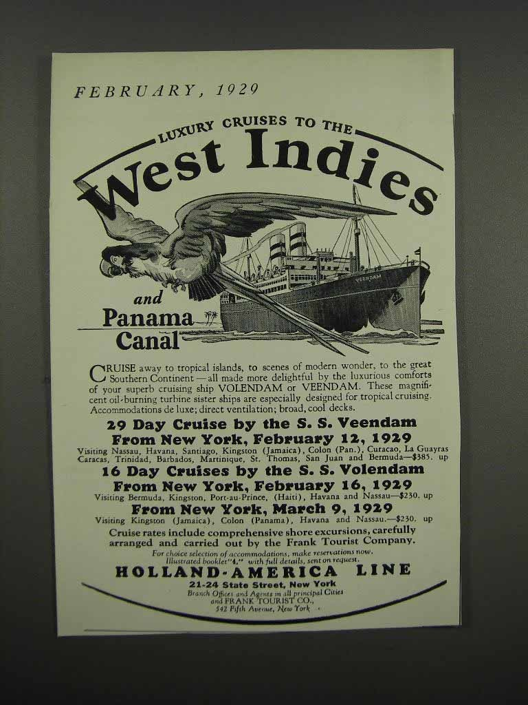 Primary image for 1929 Holland-America Line Ad - West Indies