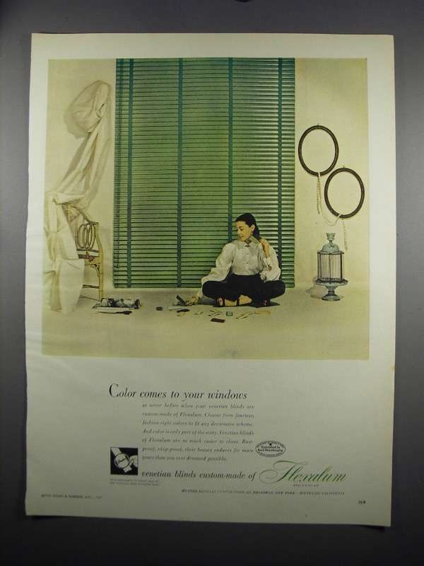 Primary image for 1949 Hunter Douglas Flexalum Venetian Blinds Ad