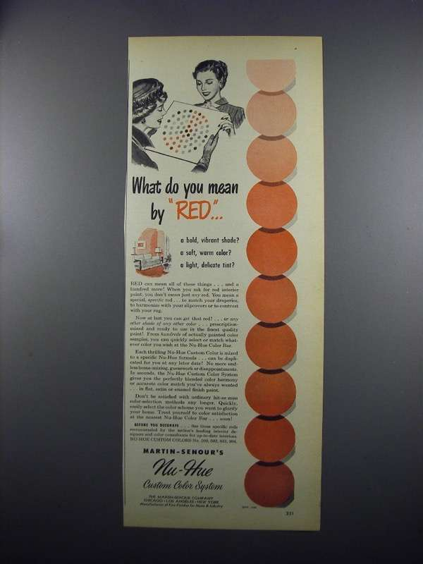 Primary image for 1949 Martin-Senour Nu-Hue Custom Color System Paint Ad