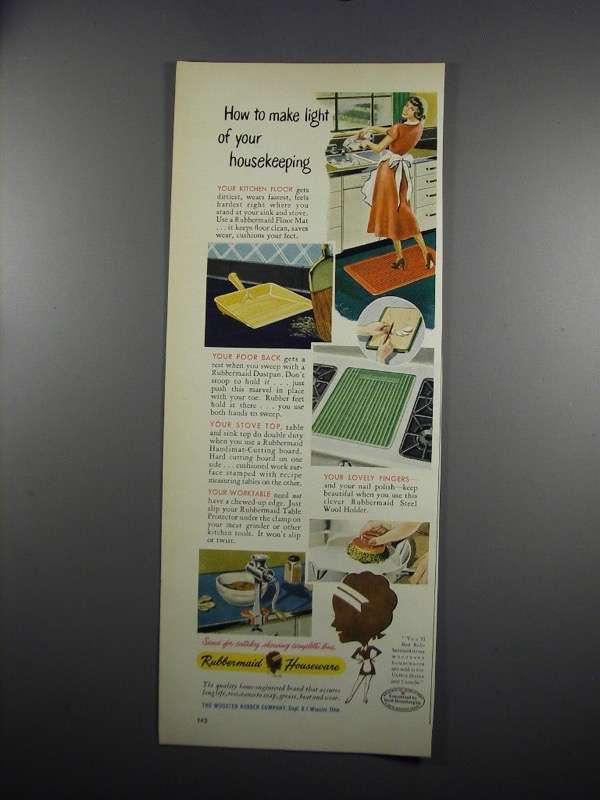 Primary image for 1949 Rubbermaid Houseware Ad - Floor Mat, Dustpan
