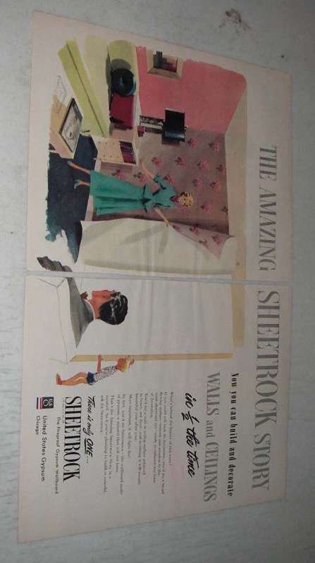 Primary image for 1949 United States Gypsum Sheetrock Ad - Amazing Story