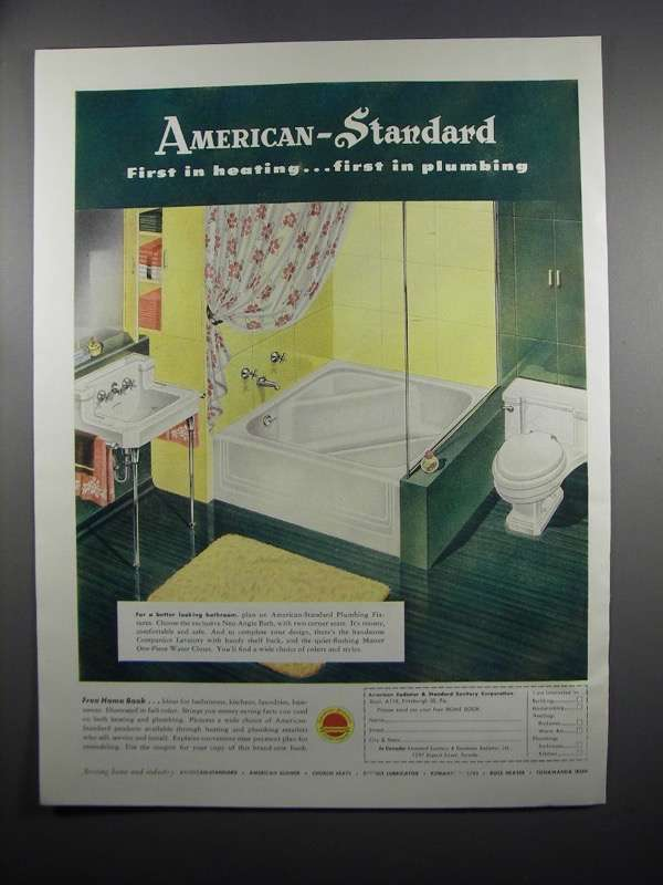 Primary image for 1950 American-Standard Ad - Neo-Angle Bath, Lavatory