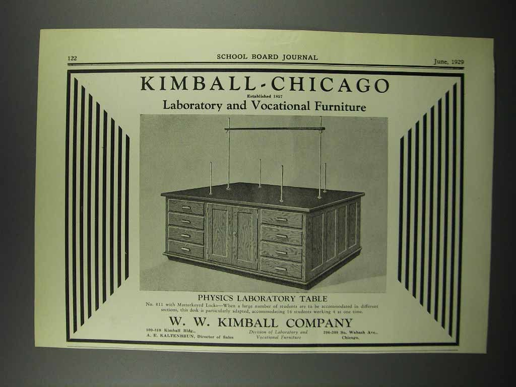 Primary image for 1929 Kimball-Chicago Physics Laboratory Table Ad