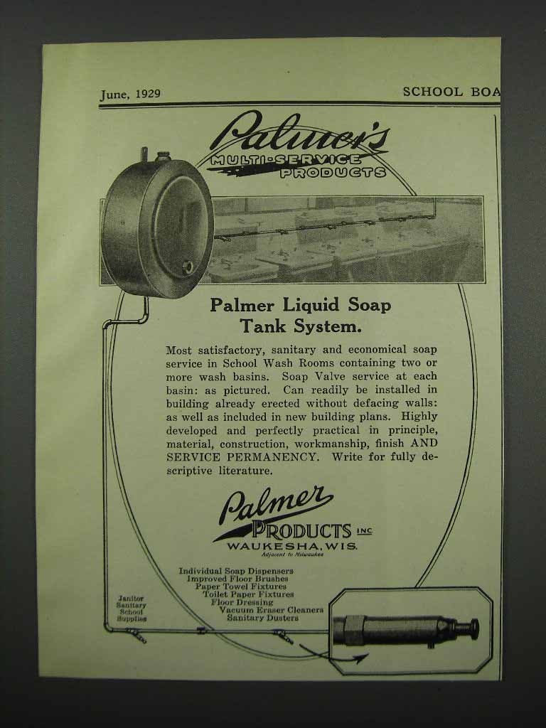Primary image for 1929 Palmer's Liquid Soap Tank System Ad