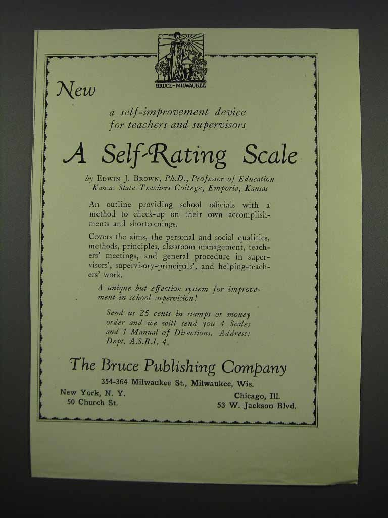 Primary image for 1929 The Bruce Publishing Co. A Self-Rating Scale Ad