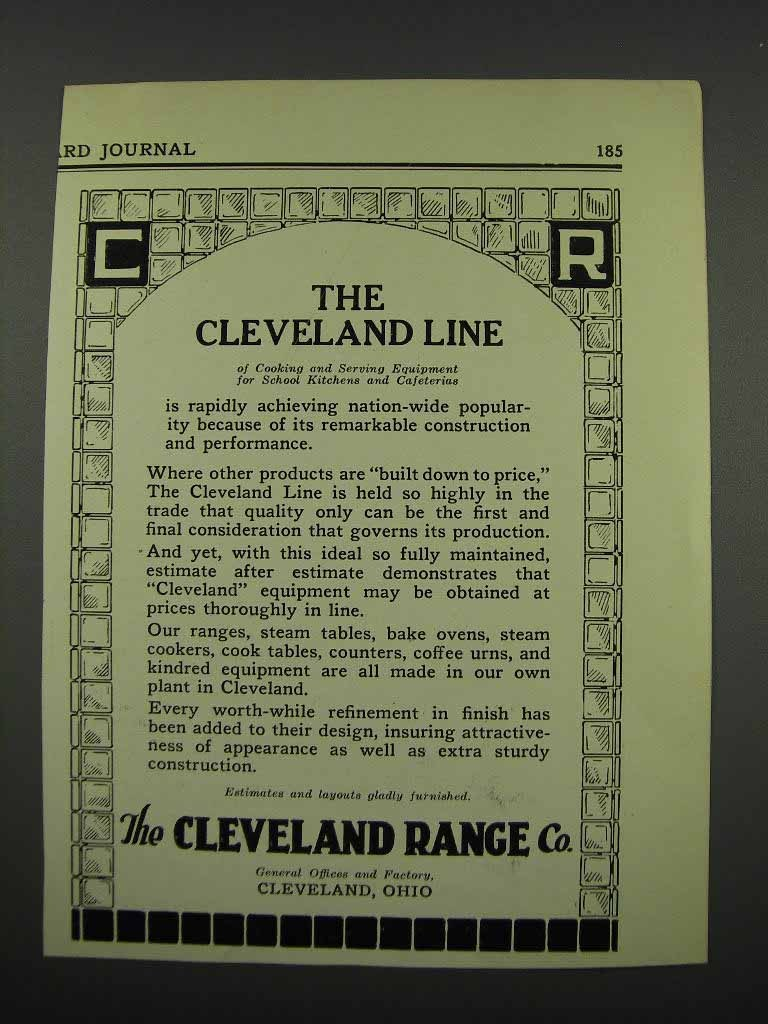 Primary image for 1929 The Cleveland Range Co. Ad - The Line