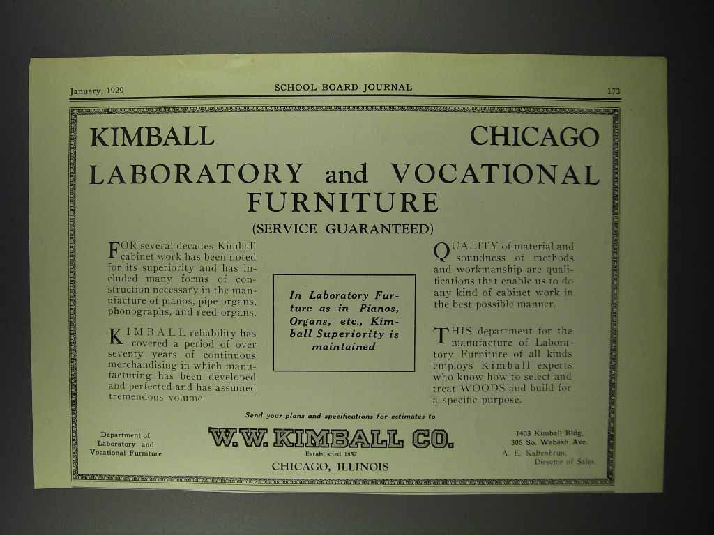 Primary image for 1929 W.W. Kimball Laboratory & Vocational Furniture Ad