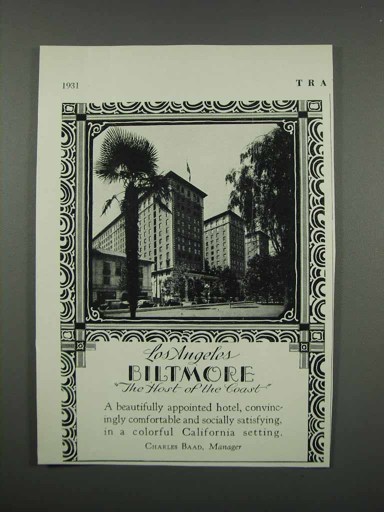 Primary image for 1931 Los Angeles Biltmore Hotel Ad - Host of the Coast