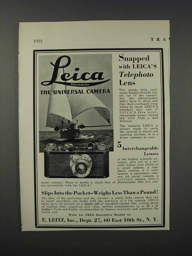 Primary image for 1932 E. Leitz Leica Camera Ad - Snapped With