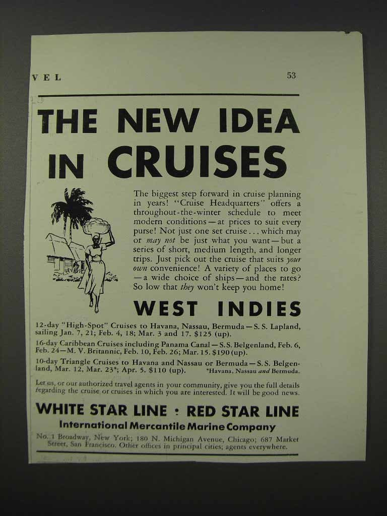 Primary image for 1932 International Mercantile Marine Ad - Cruises
