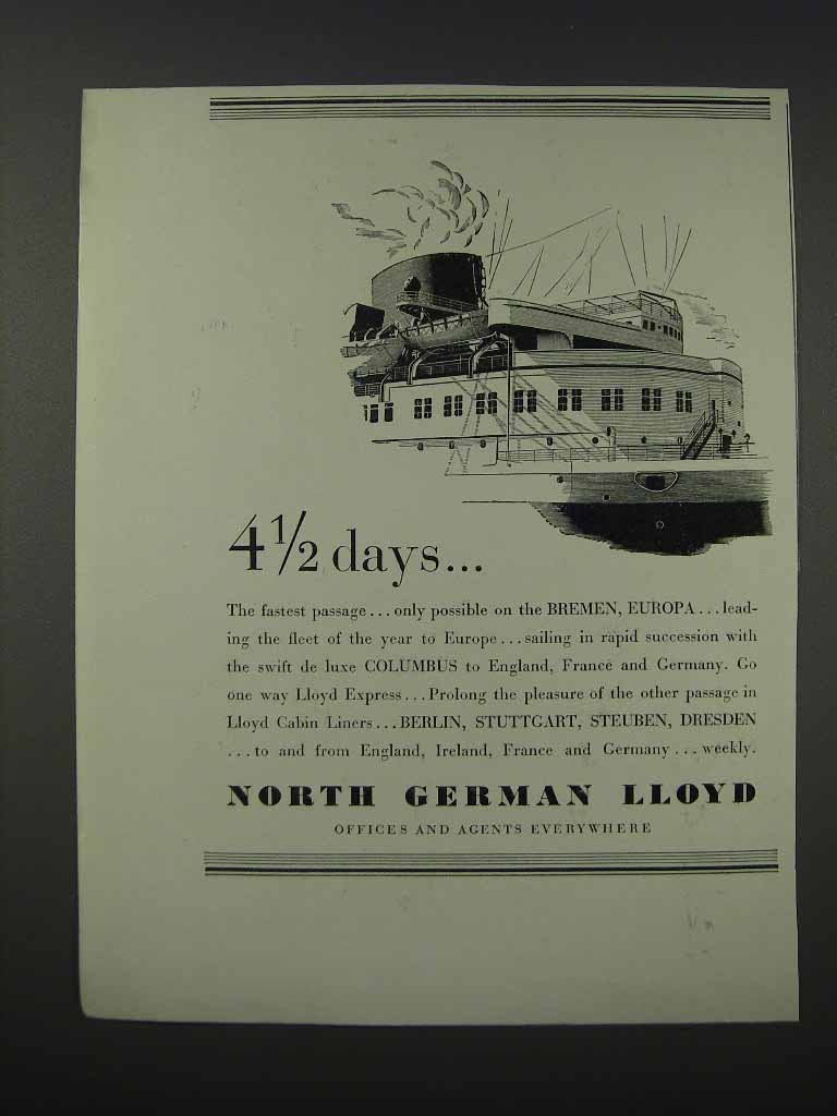 Primary image for 1932 North German Lloyd Cruises Ad - 4 1/2 Days