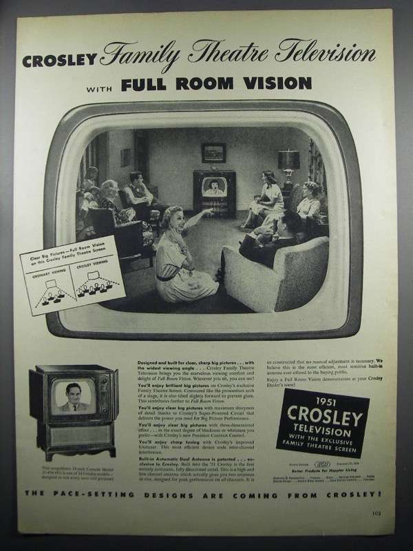 Primary image for 1950 Crosley Console Model 11-454 MU Television Ad