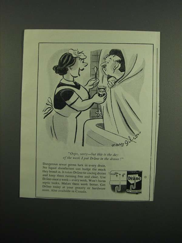 Primary image for 1950 Drano Drain Cleaner Ad - Oops, Sorry