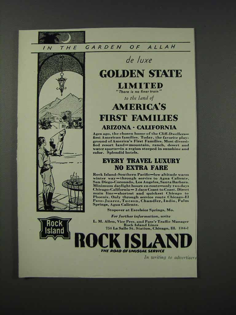 Primary image for 1932 Rock Island Railroad Ad - Garden of Allah