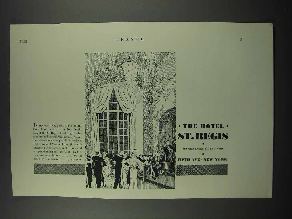 Primary image for 1932 The Hotel St. Regis Ad - In Travel Time