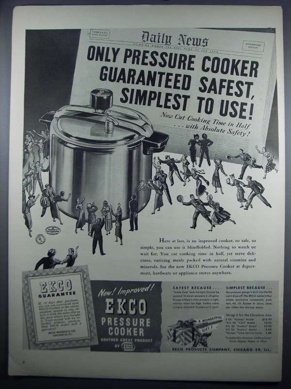 Primary image for 1948 Ekco Pressure Cooker Ad - Safest, Simplest