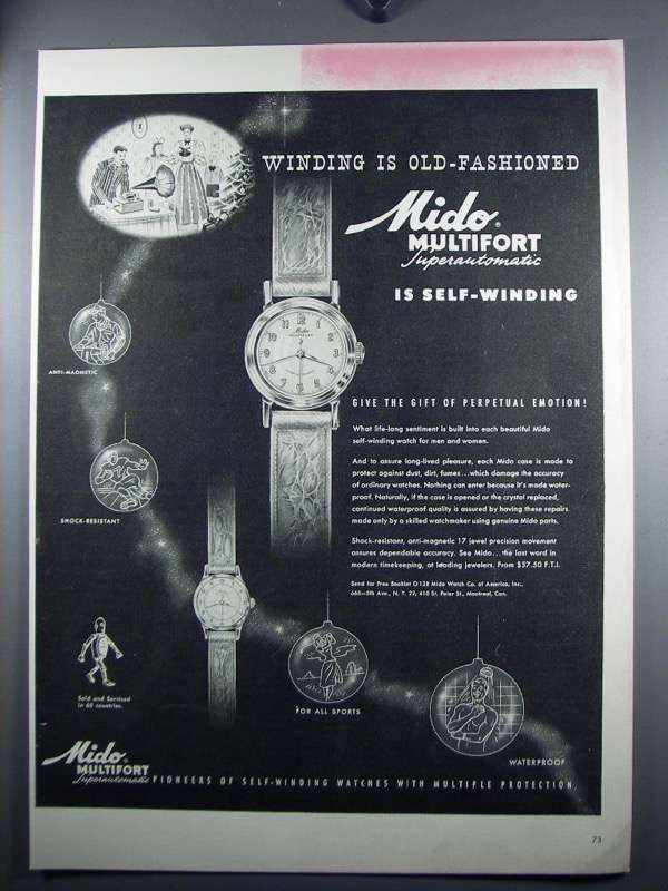 Primary image for 1948 Mido Multifort Superautomatic Watch Ad