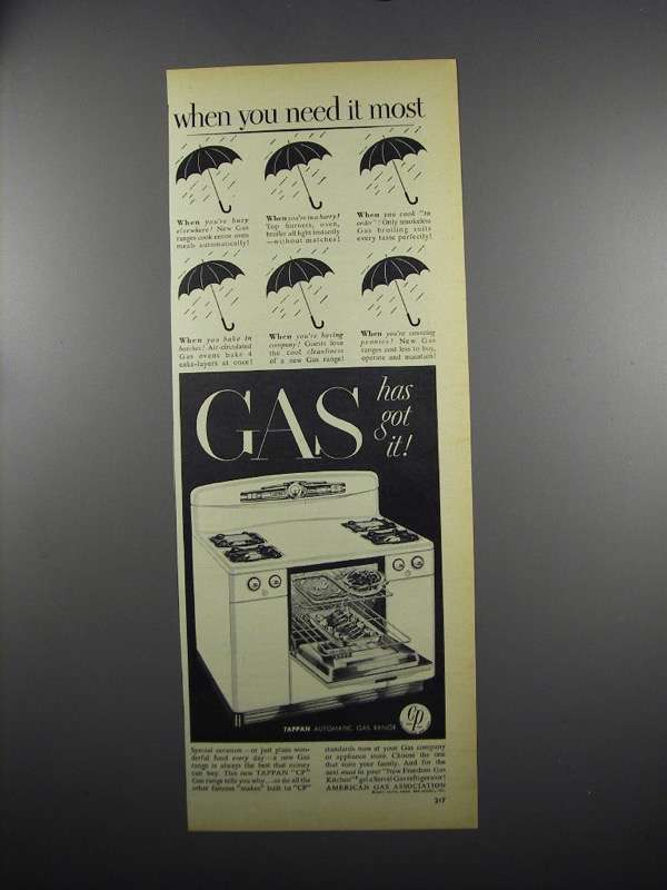 Primary image for 1949 American Gas Association Ad - Tappan CP Range