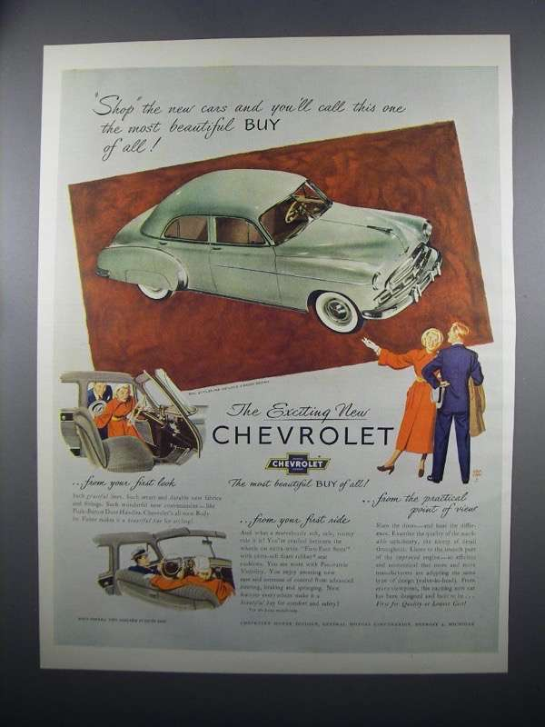 Primary image for 1949 Chevrolet Styleline DeLuxe 4-Door Sedan Ad