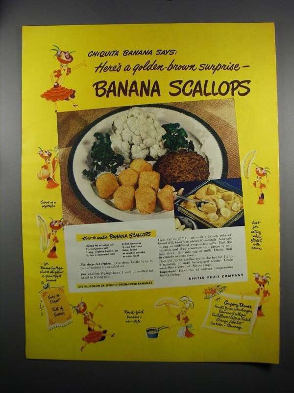 Primary image for 1949 Chiquita Bananas Ad - Banana Scallops Recipe