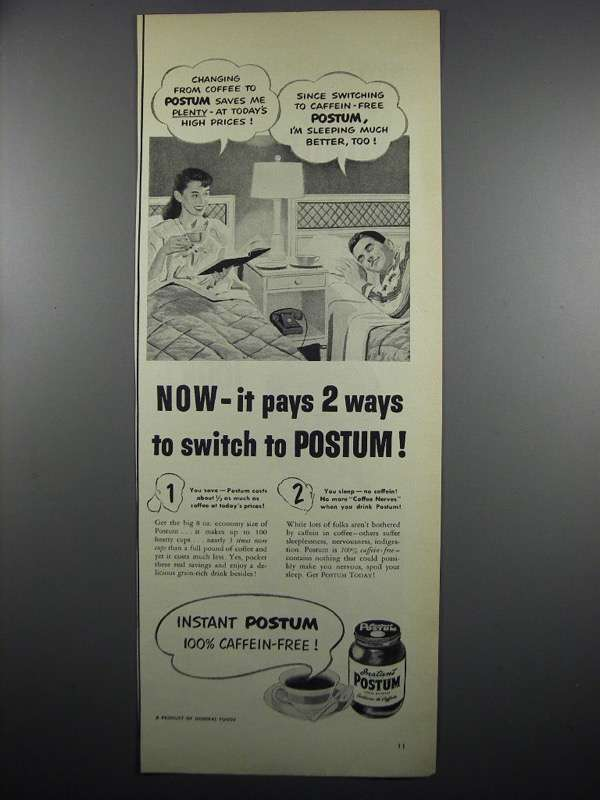Primary image for 1950 Instant Postum Ad - It Pays 2 Ways to Switch