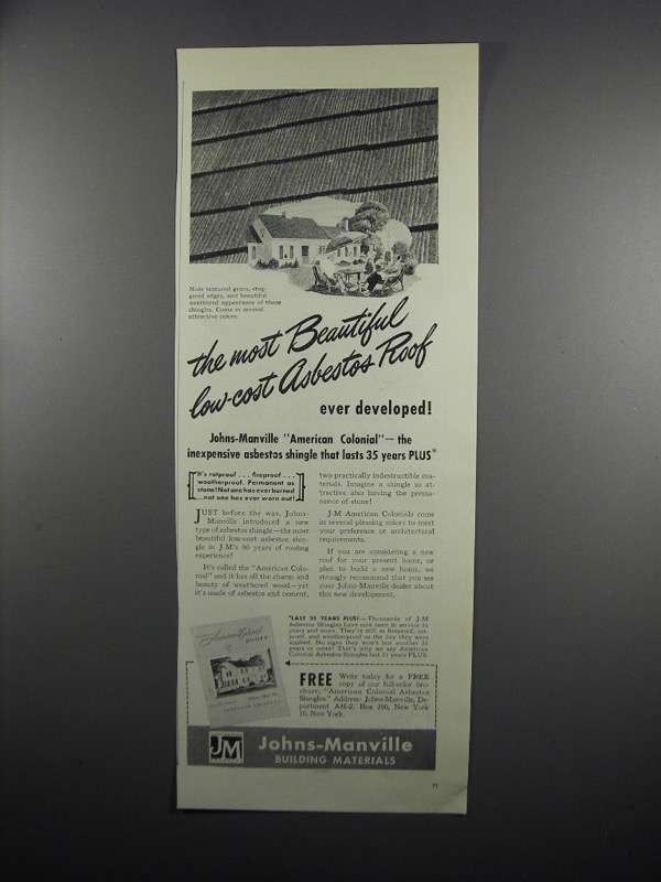 Primary image for 1950 Johns-Manville Asbestos Shingle Ad - Low-Cost