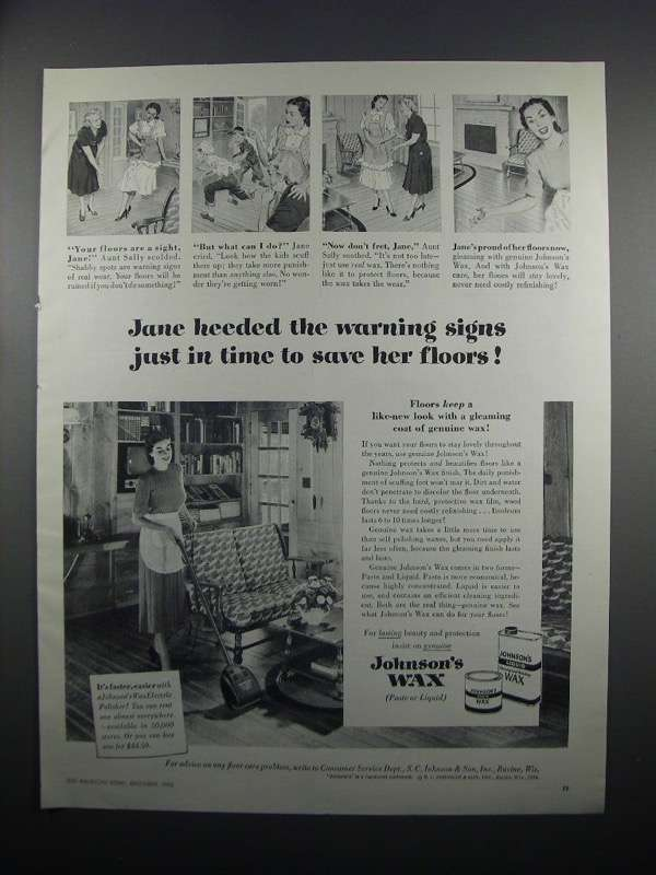 Primary image for 1950 Johnson's Wax Ad - Heeded the Warning Signs