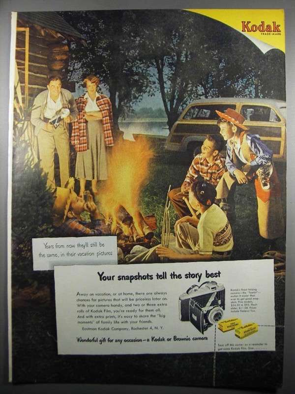 Primary image for 1950 Kodak Tourist Camera Ad - Your Snapshots Tell