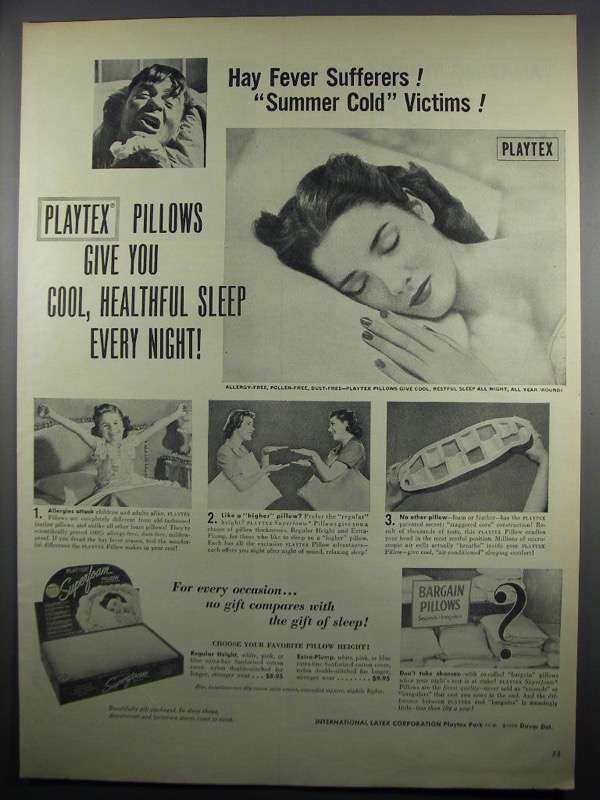 Primary image for 1950 Playtex Pillows Ad - Hay Fever Sufferers!