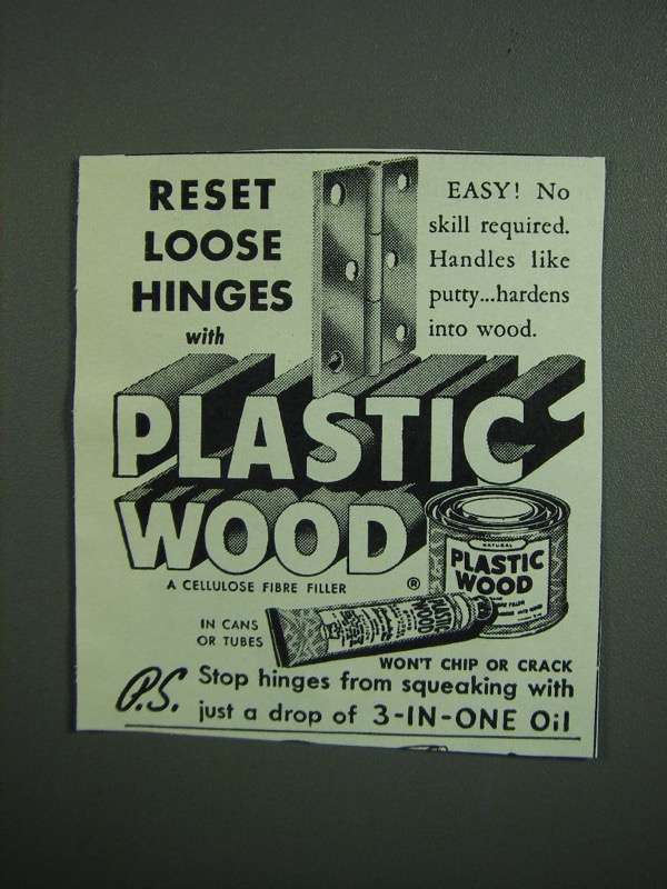 Primary image for 1950 Plastic Wood Ad - Reset Loose Hinges