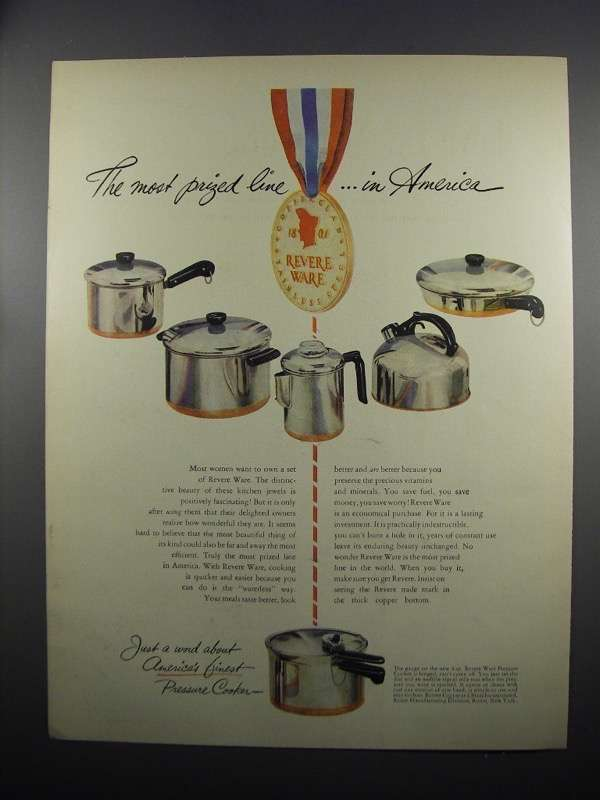 Primary image for 1950 Revere Ware Ad - The Most Prized Line