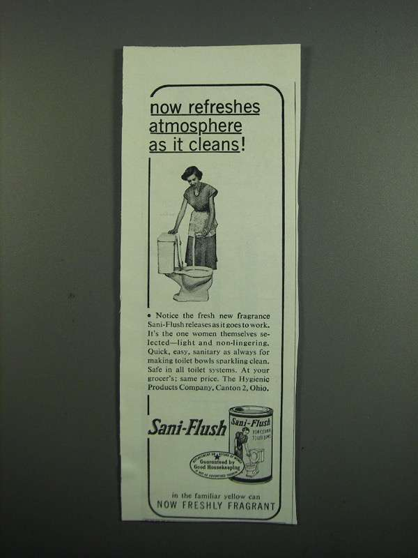 Primary image for 1950 Sani-Flush Cleanser Ad - Refreshes Atmosphere