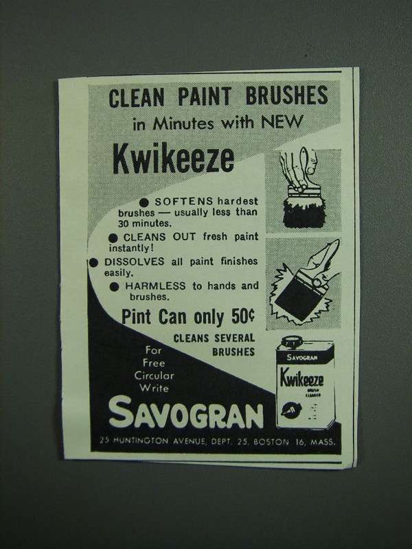 Primary image for 1950 Savogran Kwikeeze Ad - Clean Paint Brushes