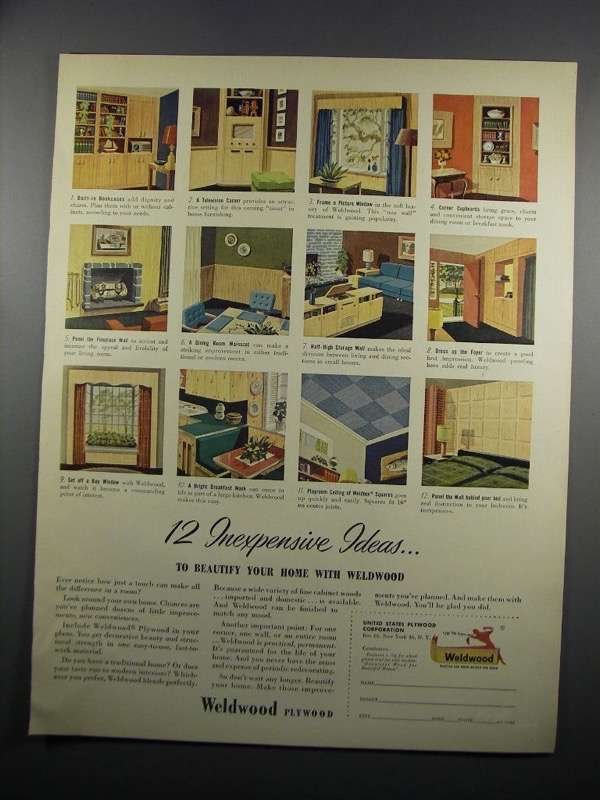 Primary image for 1950 United States Plywood Weldwood Paneling Ad - Ideas